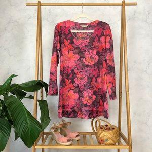 Soft Surroundings Tillie Pink Floral Tunic Top